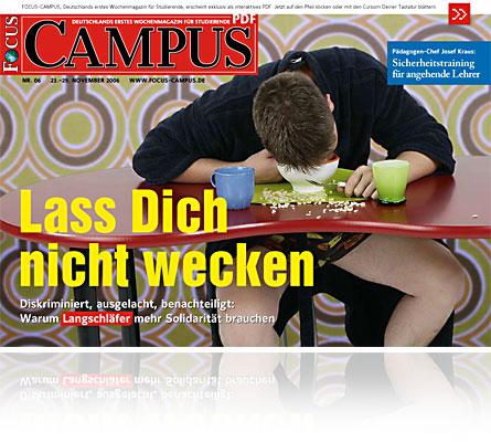 Titelbild der Ausgabe Nummer 6 der neuen Studentenzeitschrift im Format PDF Focus Campus