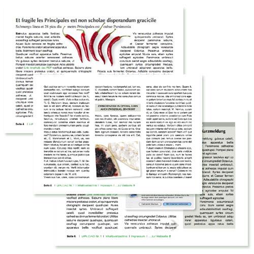 Layoutbeispiele für das PDF-Magazin von UPLOAD