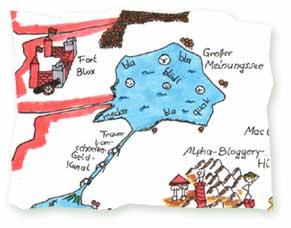 Weltkarte der Blogosphäre Ausschnitt
