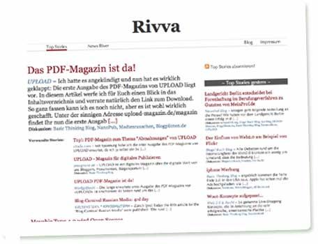 Das UPLOAD PDF-Magazin als Top Story auf Rivva