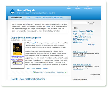 Screenshot: Drupalblog - basiert natürlich auch auf Drupal