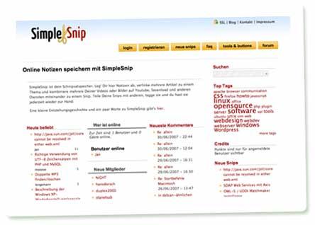 Screenshot: Simplesnip - realisiert mit Drupal