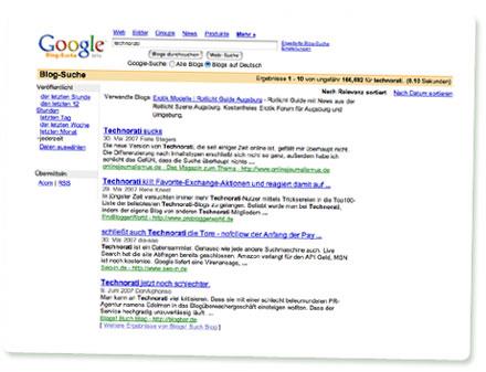 Screenshot Google Blogsuche