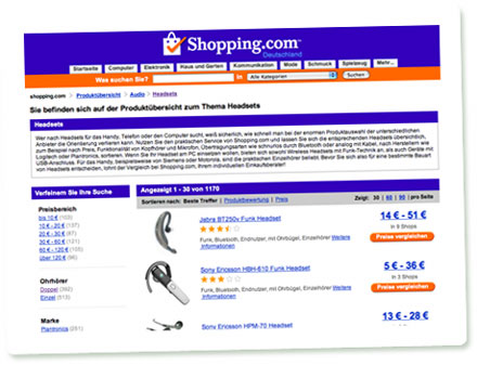 Screenshot der Rubrik Headsets bei Shopping.com