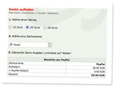 Screenshot akuma: Konto aufladen