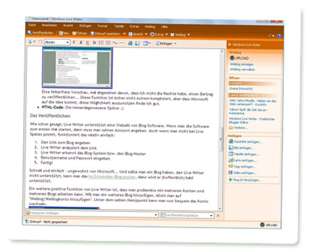 Windows Live Writer - normaler Anzeigemodus