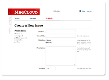 MagCloud: Create a New Issue