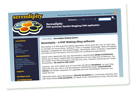 Screenshot Serendipity-Website