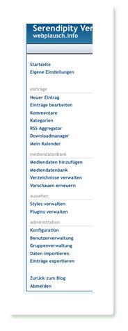 Screenshot: Seitenleiste der Verwaltungsoberfläche von Serendipity