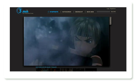 Screenshot: 3min, Portal für Webserien