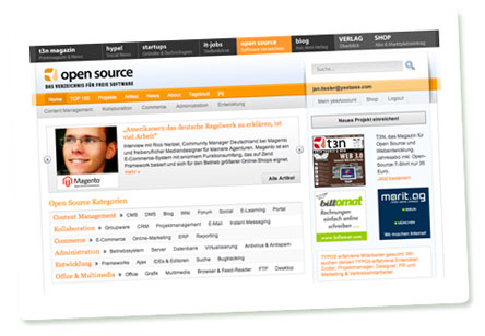 "Screenshot: ""open source""-Portal von yeebase"