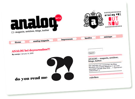 Screenshot der Website des analog magazins