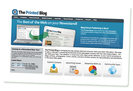 """Screenshot der Website des Projekts """"The Printed Blog"""""""
