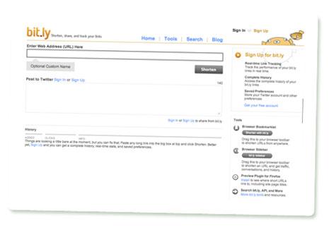 Startseite von bit.ly