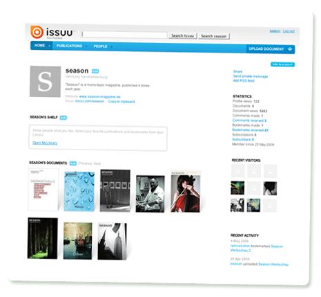 Profilseite bei Issuu