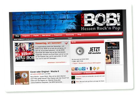 Screenshot der Website von RADIO BOB!