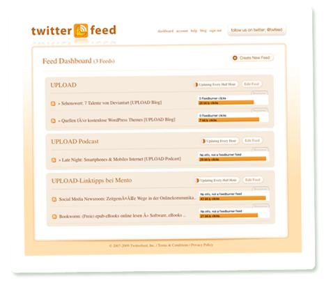 Das Dashboard von Twitterfeed