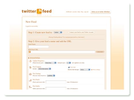 Neuen Feed bei Twitterfeed anlegen