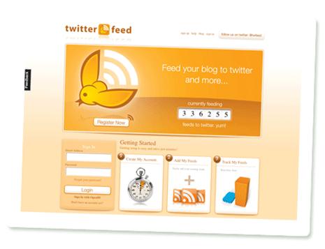 Startseite von Twitterfeed