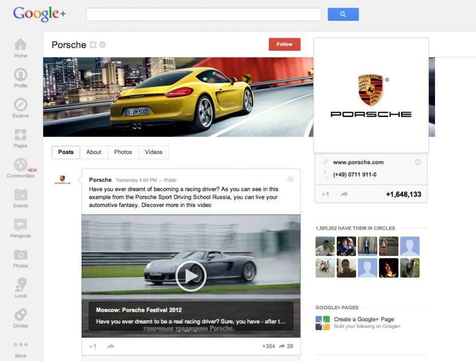 Porsche nutzt vor allem Videos und Fotos, um die Fans zu unterhalten.