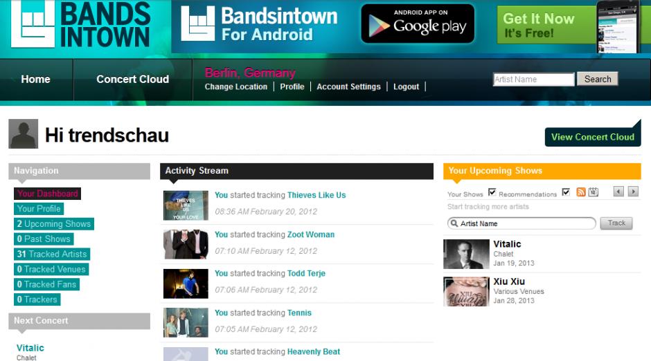 bandsintown - Alert-Service für Konzerte