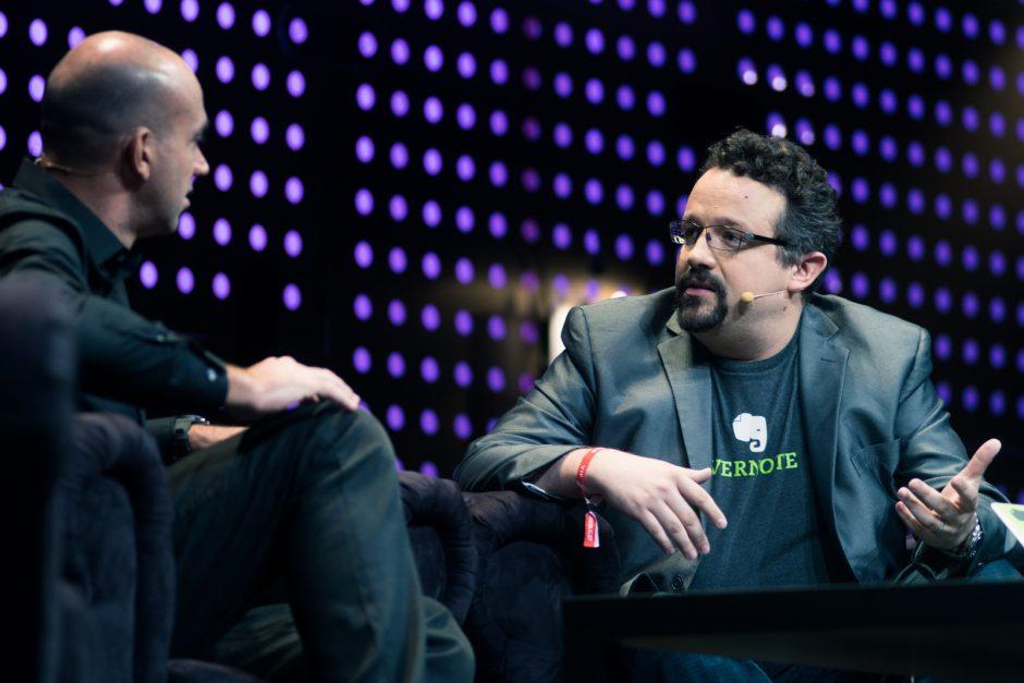 Phil Libin (re.), CEO von Evernote, im Gespräch mit Loïc Le Meur auf der Konferenz Le Web 2012. Foto: @kmeron for LeWeb12 Conference, Paris. Lizenz: CC BY 2.0
