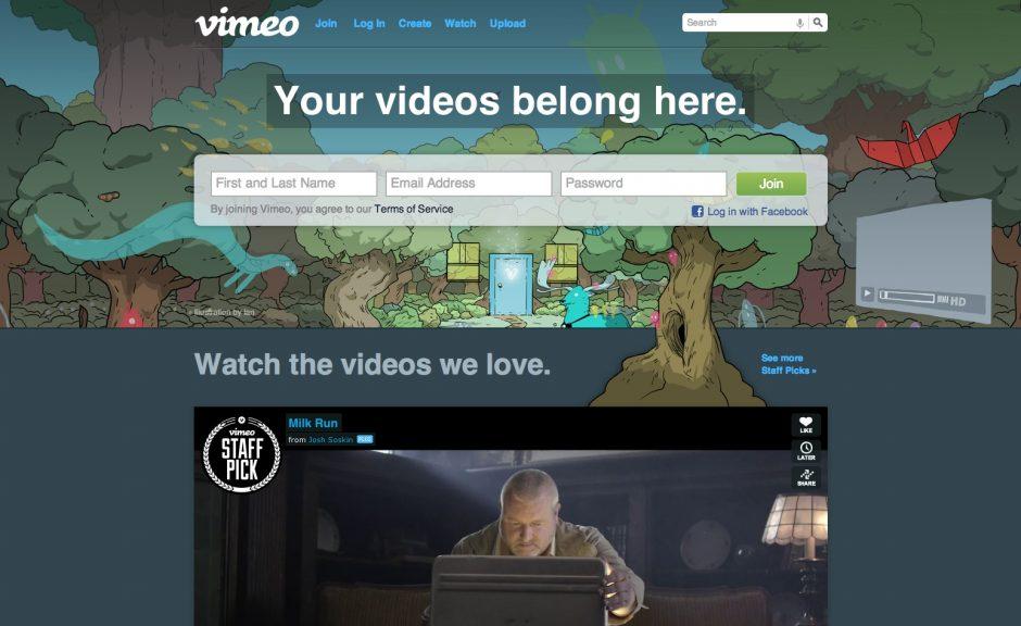 Vimeo-Startseite