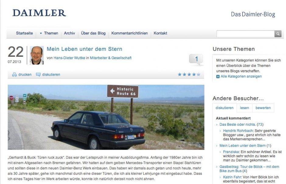 Das Daimler-Blog gehört zu den bekanntesten Corporate Blogs in Deutschland. (Bild: Daimler)