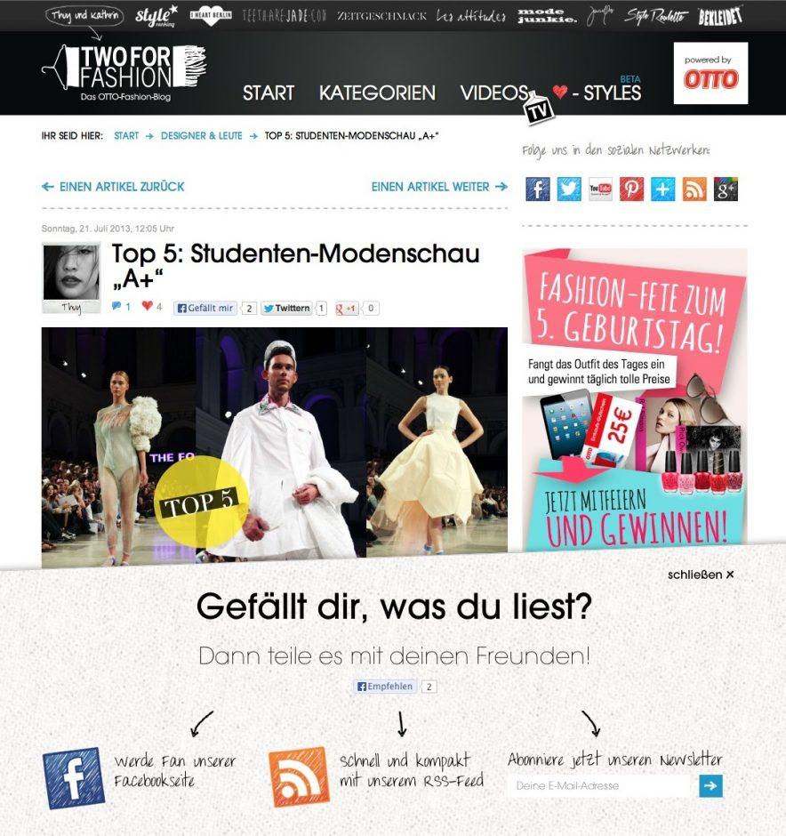 Beim einem Blog , wie hier dem Fashion-Blog von Otto, muss sich ein Unternehmen keinen Designvorgaben unterwerfen (Bild: Otto).