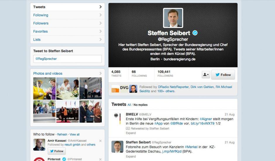 Regierungssprecher Steffen Seibert auf Twitter