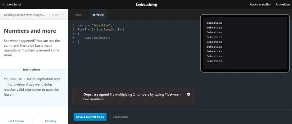 codecademy - Lern-Plattform für Programmiersprachen