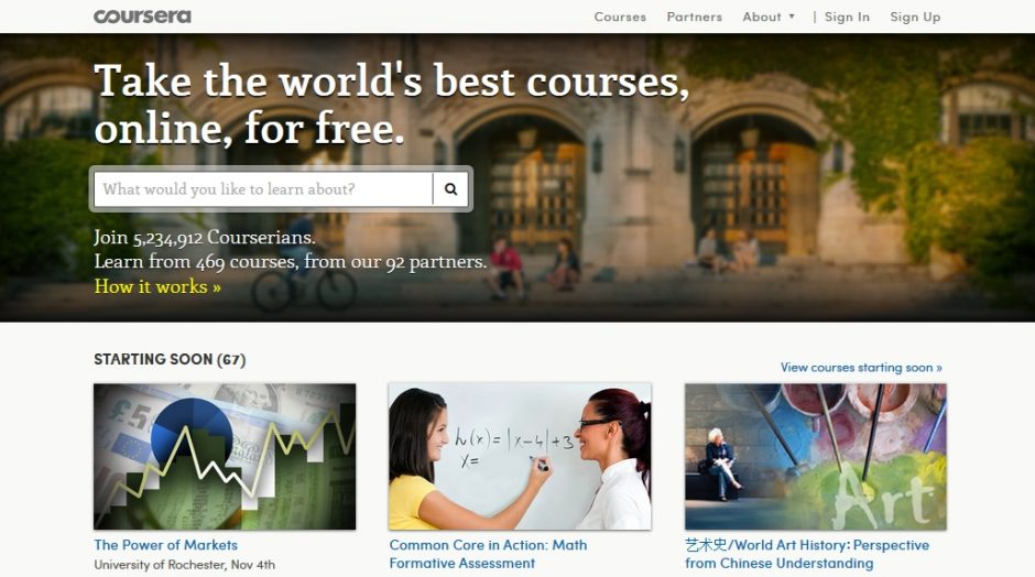 coursera - Plattform für Massive Open Online Courses MOOCS