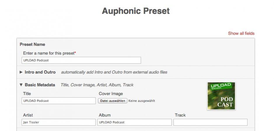 Auphonic Preset