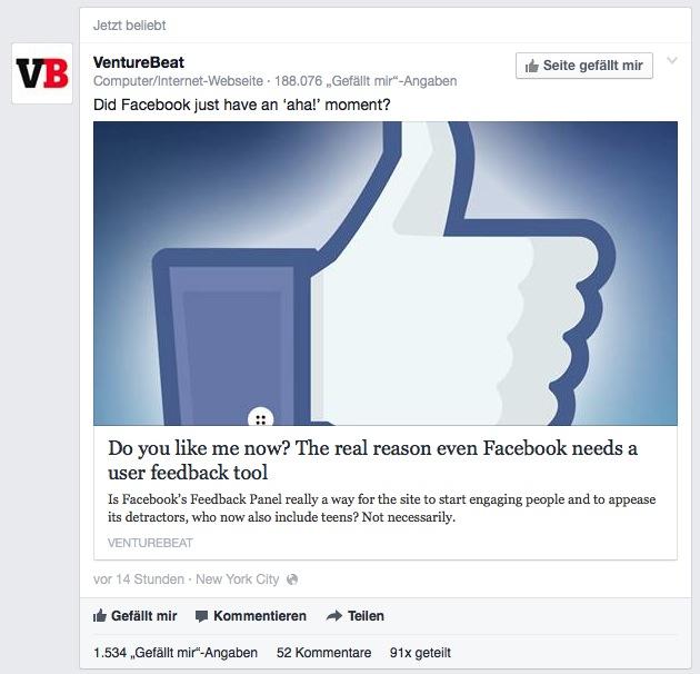 Dieser Beitrag der Fanpage von VentureBeat schaffte es allein durch die hohe Zahl an Interaktionen in meinen Newsfeed.