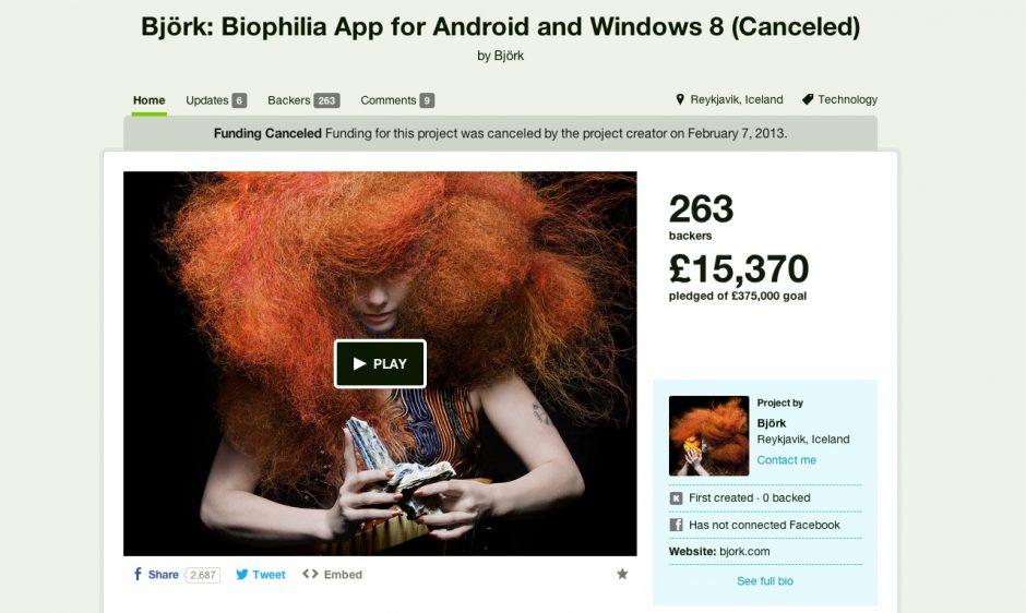 Björk auf Kickstarter