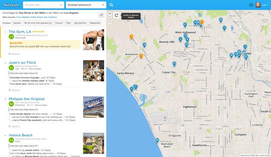 Übersicht auf Foursquare zu Los Angeles ohne jede einschränkende Suche oder Rubrik.