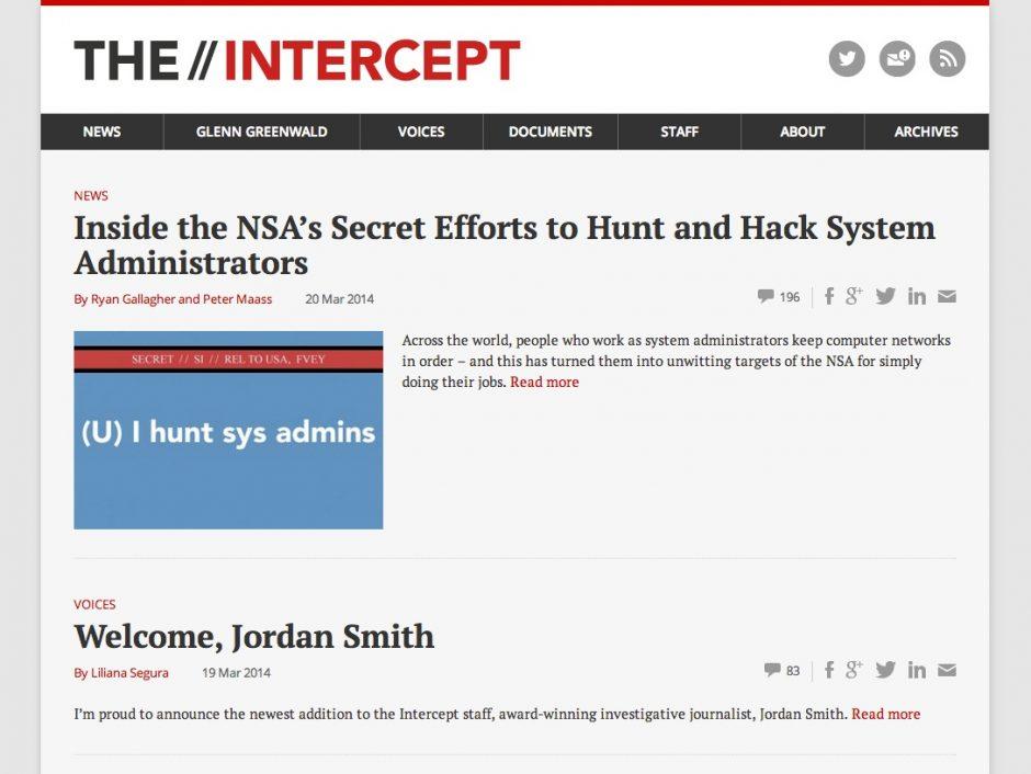"""Startseite von """"The Intercept"""""""