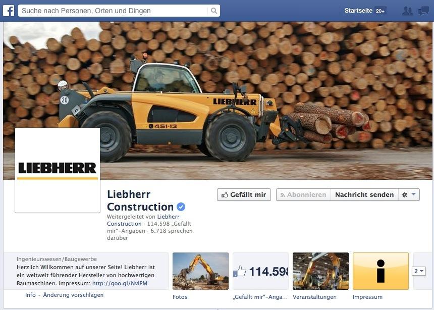 Die Facebook-Seite dient zum Austausch mit den Markenfans und Kunden.