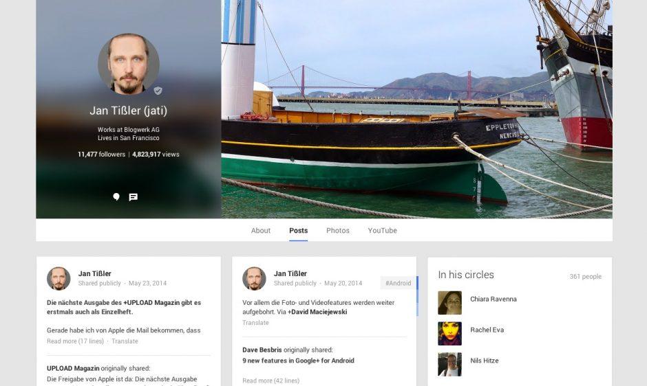 Eine Profilseite auf Google+