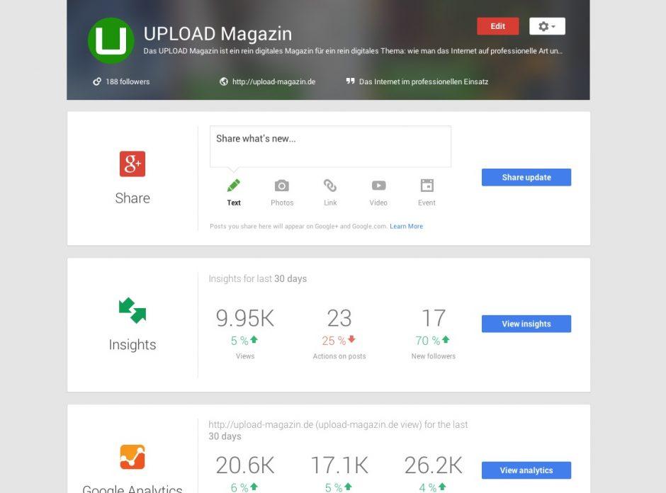 """Das ehemalige """"Google+ Dashboard"""" ist jetzt """"Google My Business""""."""