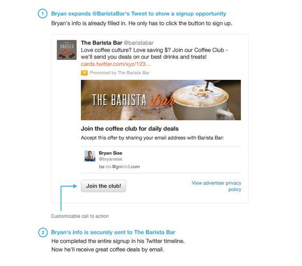 Lead Generation Card: Viel Aufmerksamkeit und Datenübermittlung innerhalb des Tweets (Screenshot: blog.twitter.com)