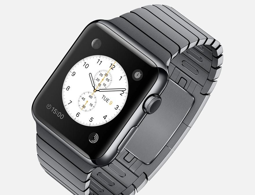 Die Apple Watch, hier mit einem Edelstahlarmband, tarnt sich wie eine ganz gewöhnliche Armbanduhr und hat Techies ebenso wie modische Menschen in Visier.