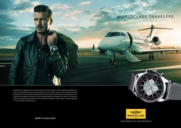 Model/Ex-Fußballer David Beckham mit einer schlichten aber modischen Breitling-Uhr