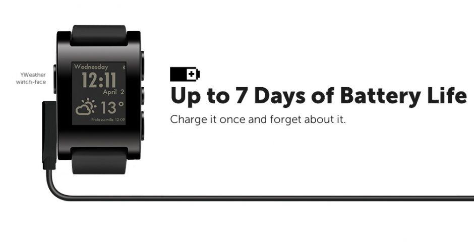 Pebble: Rekordverdächtige Smartwatch mit E-Ink-Display und wichtigster Werbebotschaft. Der Akku hält und hält