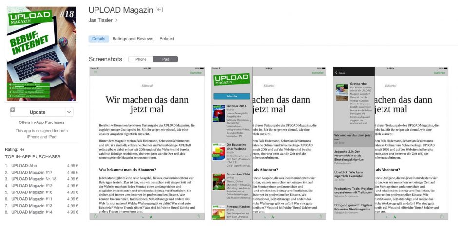UPLOAD Magazin bei iTunes