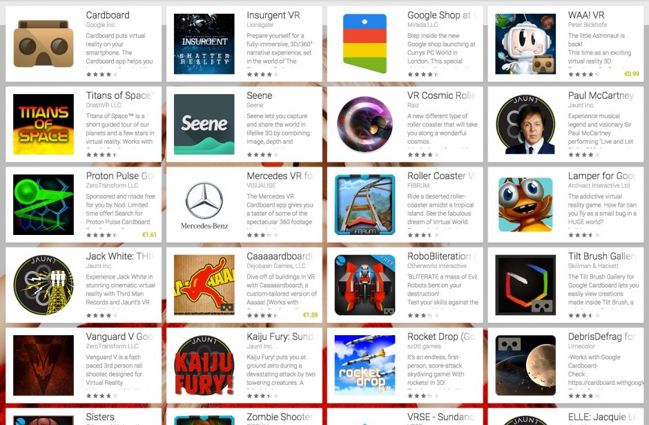 Cardboard Apps im Play Store