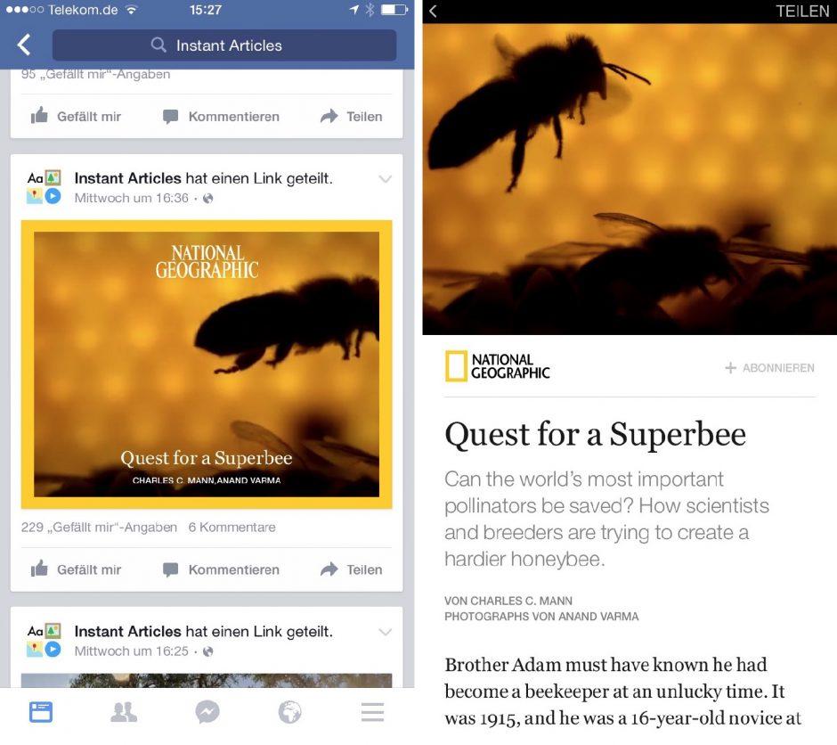 Die Instant Articles lassen sich derzeit am leichtesten über die Page finden(links). Die Ansicht auf dem iPhone hat nichts mehr mit dem Look & Feel von Facebook zu tun (rechts).