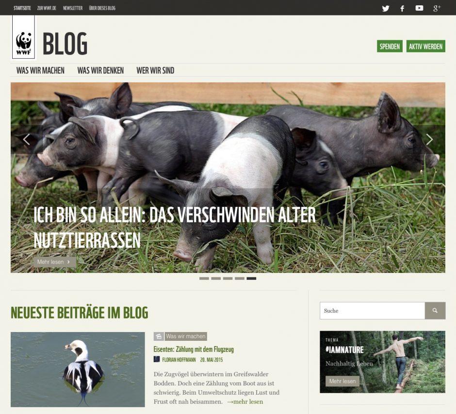 Unabhängigkeit und Flexibilität sind die wichtigsten Gründe für die Entstehung des Corporate Blogs vom WWF Deutschland.