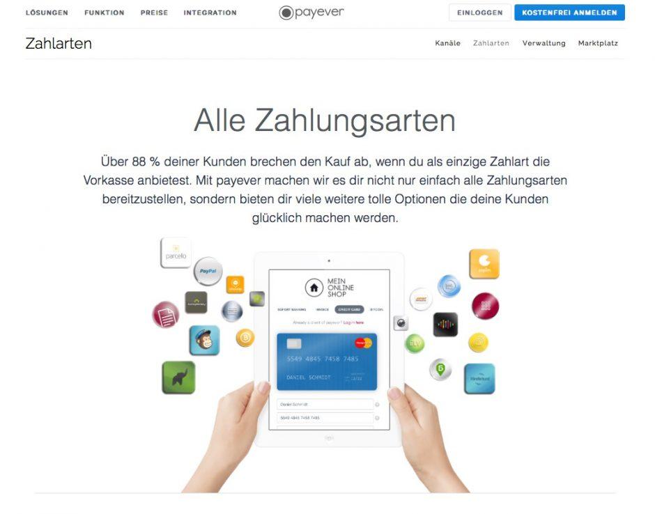 Website von payever