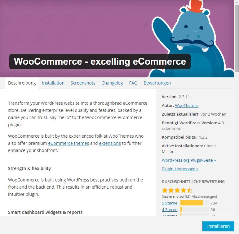 WooCommerce installieren